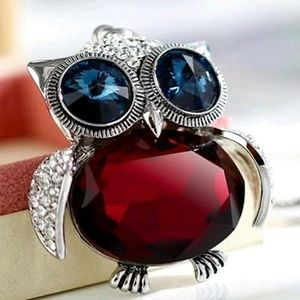 """""""New"""" Adorable Red & Silver Owl Pendant Necklace"""